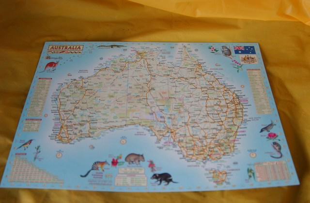 Map of Western Australia & Australia A4 Laminated