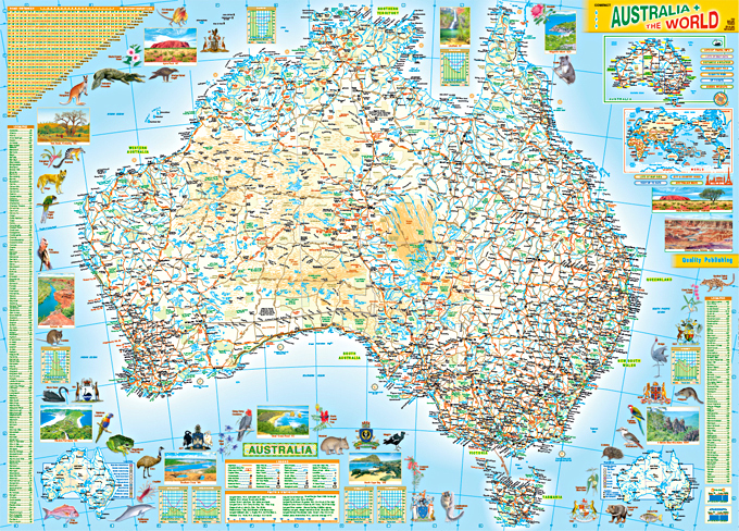 Australia Map Poster.Charts Posters B2 Chart Australia And The World Map 2 Sided